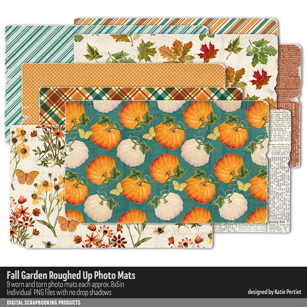 Fall Garden Roughed Up Photo Mats Digital Art - Digital Scrapbooking Kits