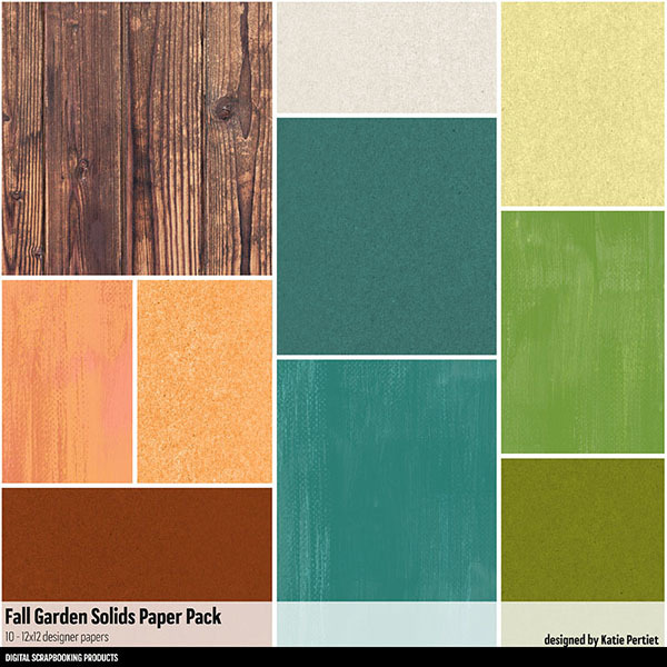 Fall Garden Solids Paper Pack Digital Art - Digital Scrapbooking Kits