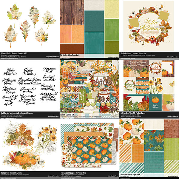 Fall Garden Scrapbooking Bundle Digital Art - Digital Scrapbooking Kits