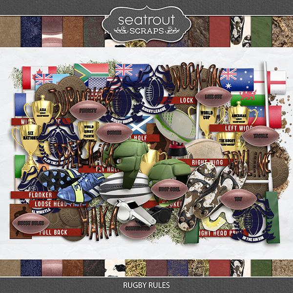 Rugby Rules Digital Art - Digital Scrapbooking Kits