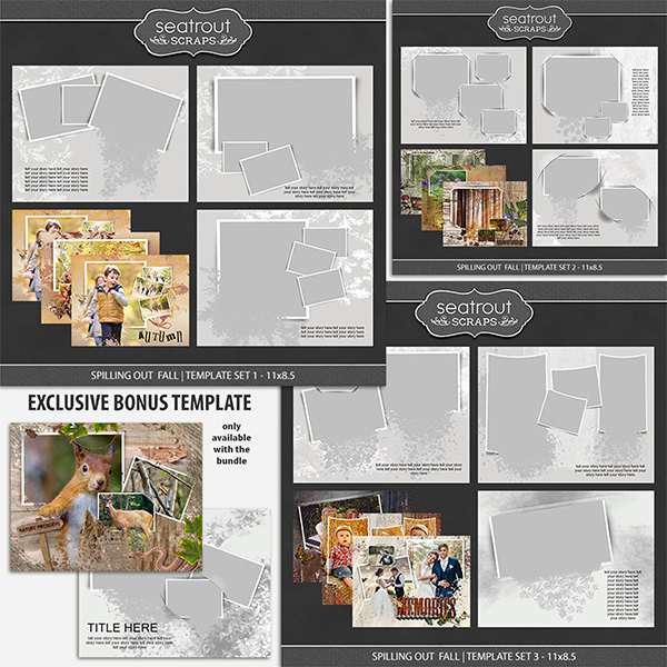 Spilling Out Fall Bonus Bundle - 11X8.5 Digital Art - Digital Scrapbooking Kits