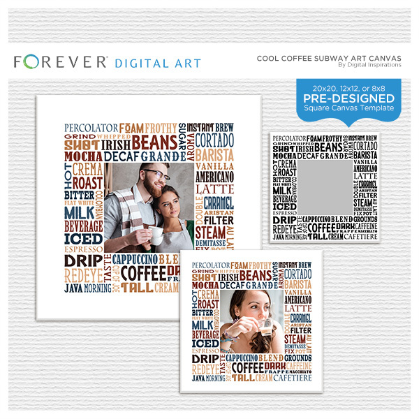 Cool Coffee Subway Art Canvas Digital Art - Digital Scrapbooking Kits