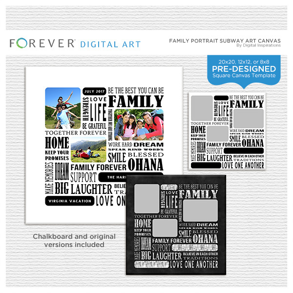 Family Portrait Subway Art Canvas Digital Art - Digital Scrapbooking Kits