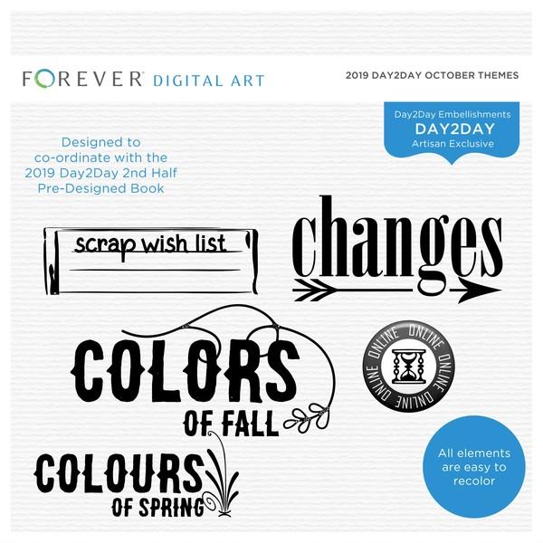 2019 Day2Day October Themes Digital Art - Digital Scrapbooking Kits