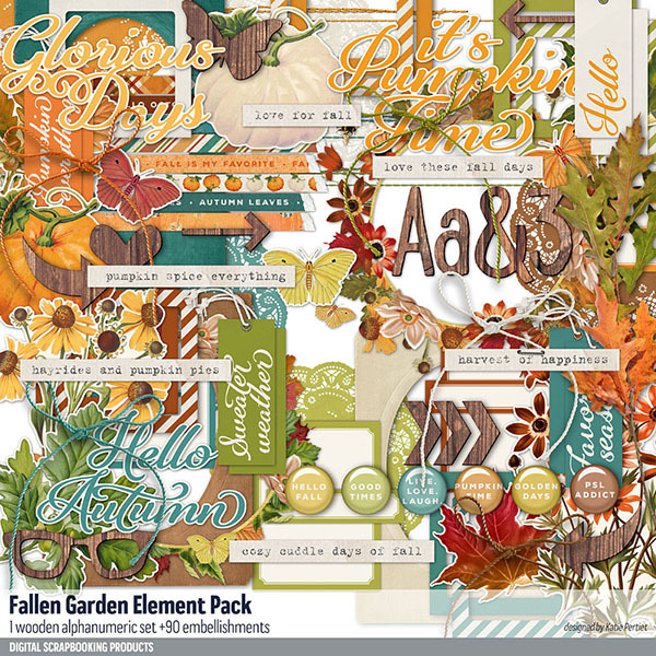 Fall Garden Element Pack Digital Art - Digital Scrapbooking Kits