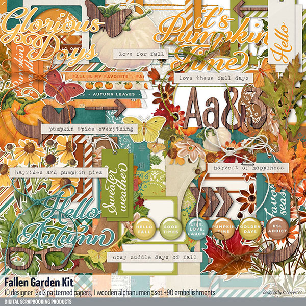 Fall Garden Scrapbook Kit Digital Art - Digital Scrapbooking Kits