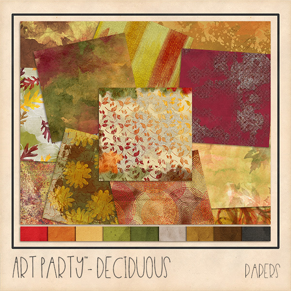 Deciduous Papers Digital Art - Digital Scrapbooking Kits