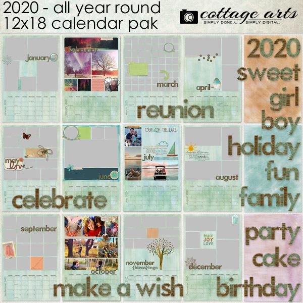 2020 All Year Round Calendar Digital Art - Digital Scrapbooking Kits