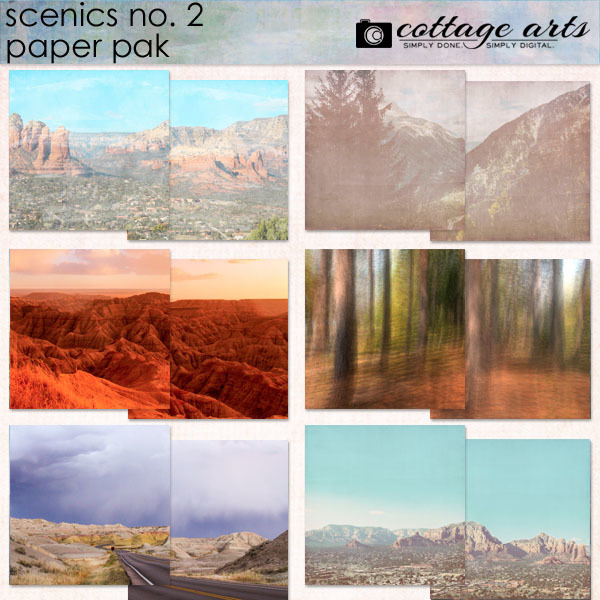 Scenics 2 Paper Pak Digital Art - Digital Scrapbooking Kits