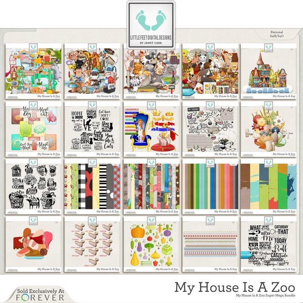 My House Is A Zoo Super Mega Bundle Digital Art - Digital Scrapbooking Kits