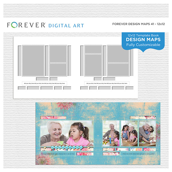 Forever Design Maps 41 12x12 Digital Art - Digital Scrapbooking Kits