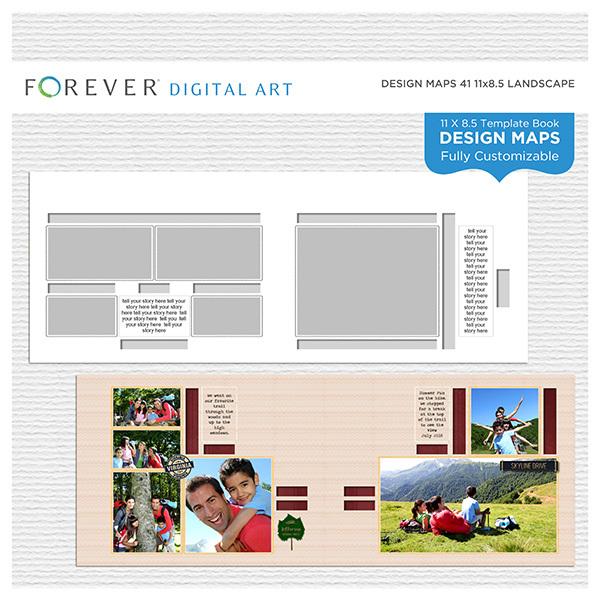 Forever Design Maps 41 11x8.5 Digital Art - Digital Scrapbooking Kits