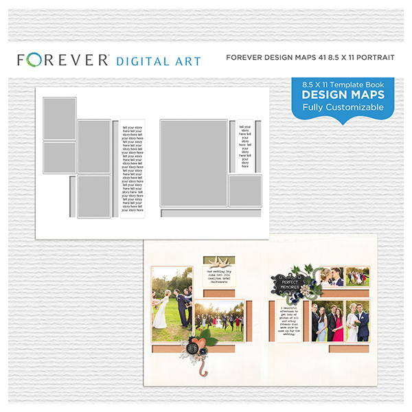 Forever Design Maps 41 8.5x11 Portrait Digital Art - Digital Scrapbooking Kits