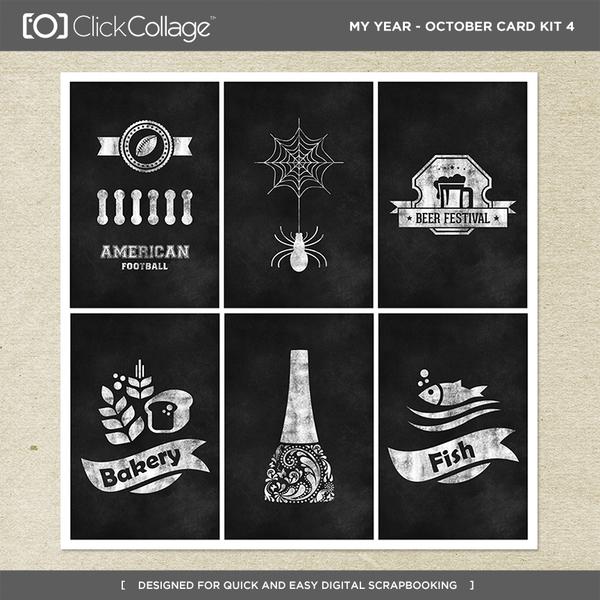 My Year - October Card Kit 4 Digital Art - Digital Scrapbooking Kits