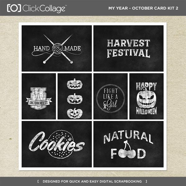 My Year - October Card Kit 2 Digital Art - Digital Scrapbooking Kits
