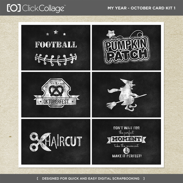 My Year - October Card Kit 1 Digital Art - Digital Scrapbooking Kits