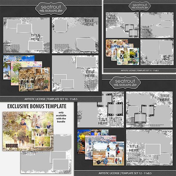 Artistic License Bonus Bundle 4 - 11x8.5 Digital Art - Digital Scrapbooking Kits
