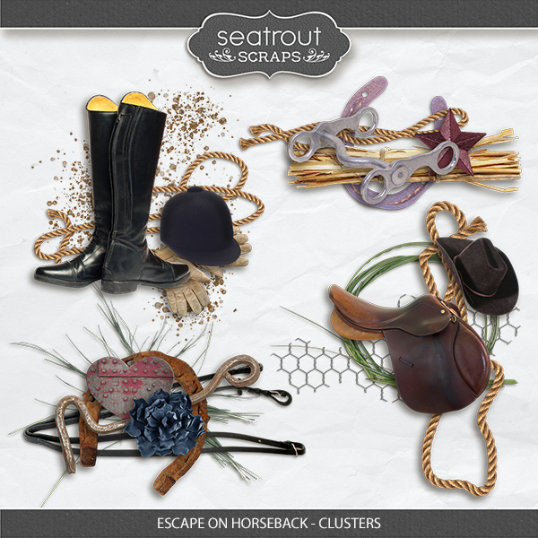 Escape on Horseback - Clusters Digital Art - Digital Scrapbooking Kits