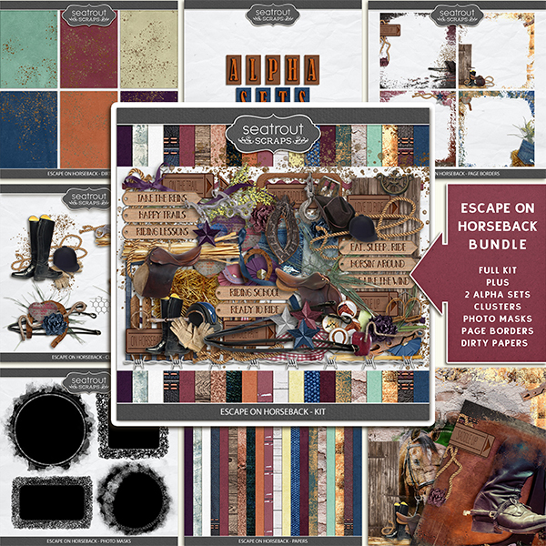 Escape on Horseback - Bundle Digital Art - Digital Scrapbooking Kits