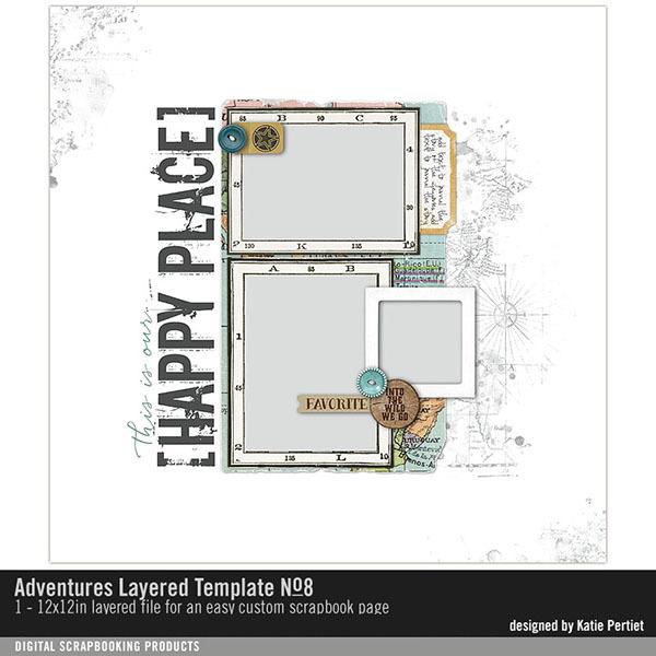 Adventures Layered Template No. 08 Digital Art - Digital Scrapbooking Kits