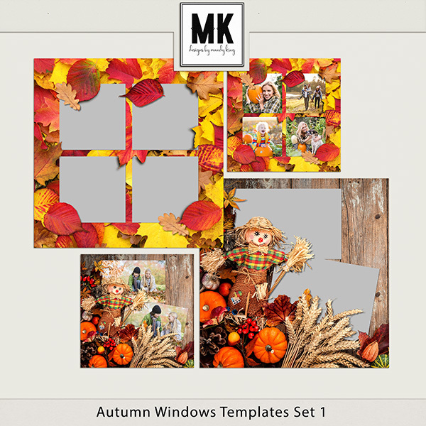 Autumn Windows Templates Set 1 Digital Art - Digital Scrapbooking Kits