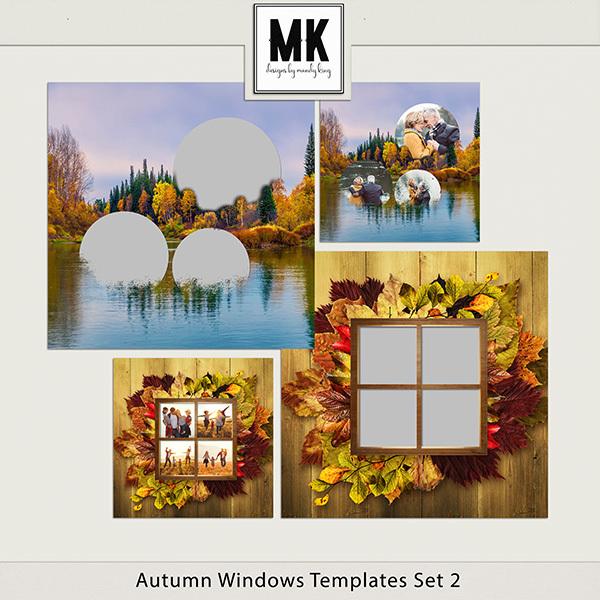 Autumn Windows Templates Set 2 Digital Art - Digital Scrapbooking Kits