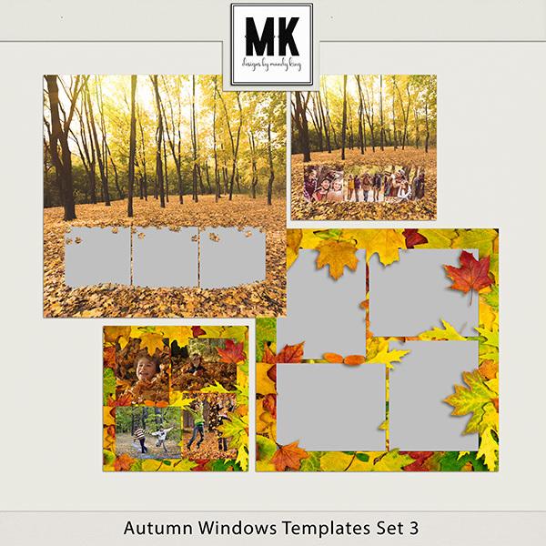 Autumn Windows Templates Set 3 Digital Art - Digital Scrapbooking Kits