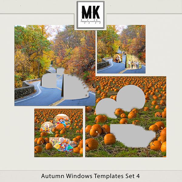 Autumn Windows Templates Set 4 Digital Art - Digital Scrapbooking Kits