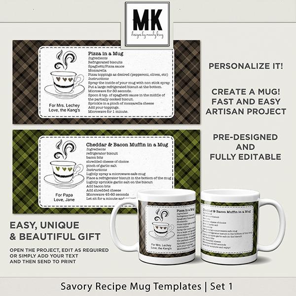 Savory Recipe Mug Templates Set 1 Digital Art - Digital Scrapbooking Kits