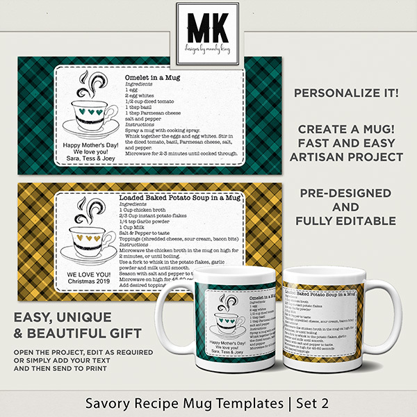 Savory Recipe Mug Templates Set 2