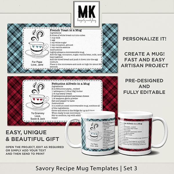 Savory Recipe Mug Templates Set 3 Digital Art - Digital Scrapbooking Kits
