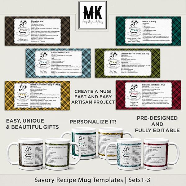 Savory Recipe Mug Templates Sets 1-3 Digital Art - Digital Scrapbooking Kits