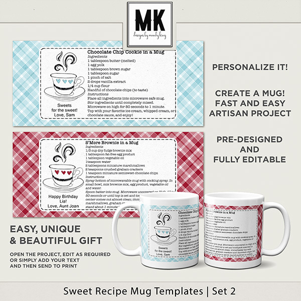 Sweet Recipe Mug Templates Set 2 Digital Art - Digital Scrapbooking Kits