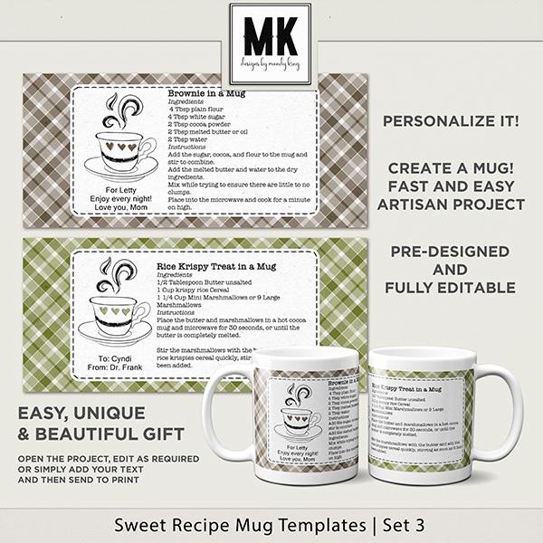 Sweet Recipe Mug Templates Set 3 Digital Art - Digital Scrapbooking Kits