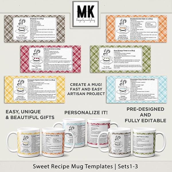 Sweet Recipe Mug Templates Sets 1-3 Digital Art - Digital Scrapbooking Kits