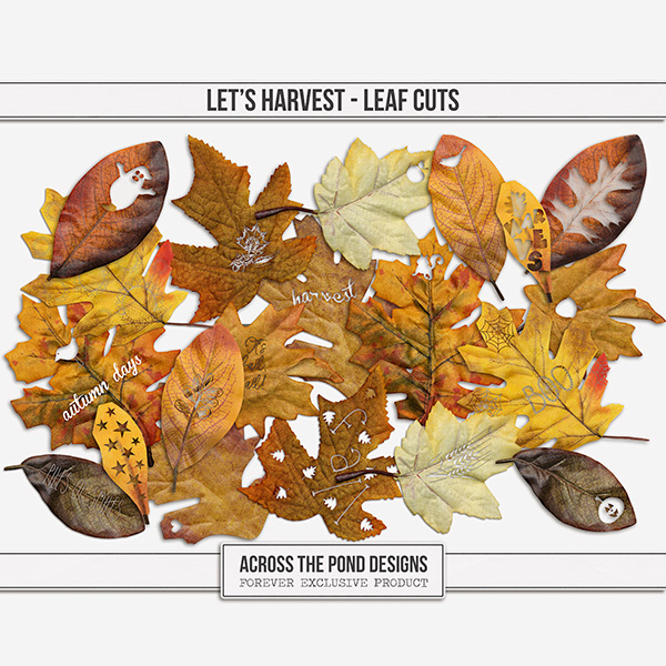 Let's Harvest Leaf Cuts Digital Art - Digital Scrapbooking Kits