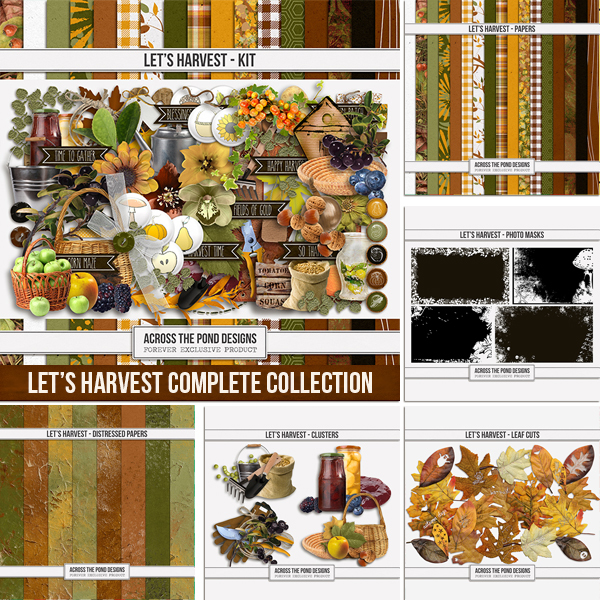 Let's Harvest Complete Collection Digital Art - Digital Scrapbooking Kits