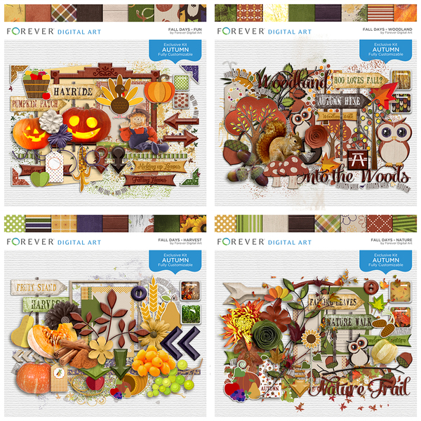 Fall Days - Complete Collection Digital Art - Digital Scrapbooking Kits