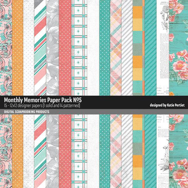Monthly Memories Paper Pack No. 05 Digital Art - Digital Scrapbooking Kits
