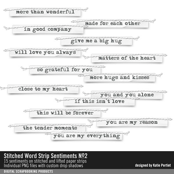 Stitched Word Strip Sentiments No. 02 Digital Art - Digital Scrapbooking Kits