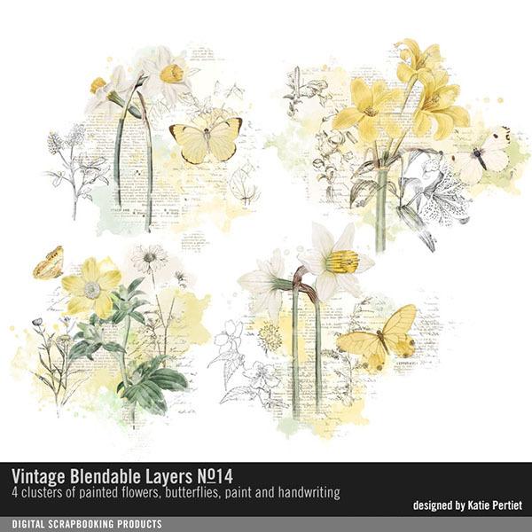 Vintage Blendable Layers No. 14 Digital Art - Digital Scrapbooking Kits