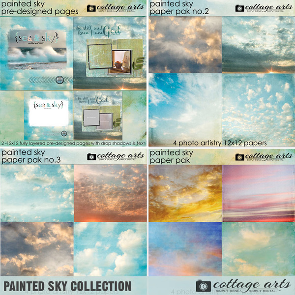Painted Sky Collection Digital Art - Digital Scrapbooking Kits
