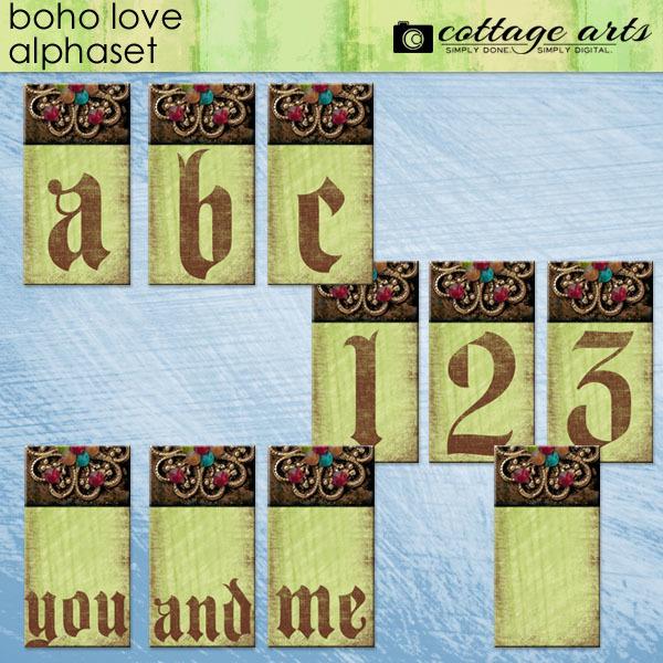 Boho Love AlphaSet Digital Art - Digital Scrapbooking Kits