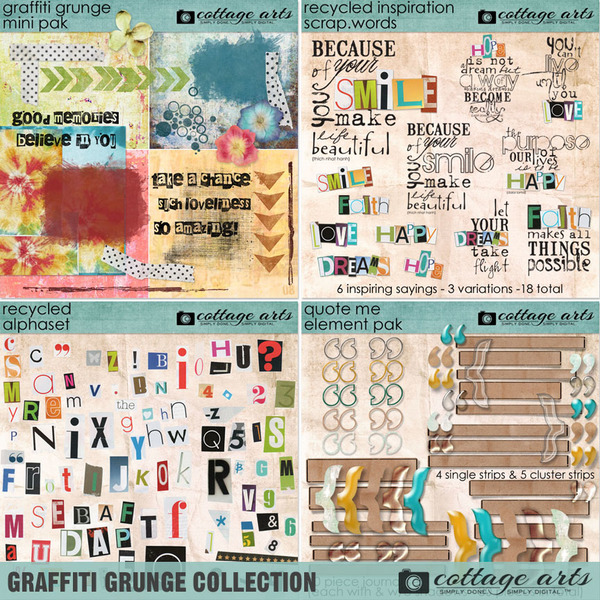 Graffiti Grunge Collection Digital Art - Digital Scrapbooking Kits