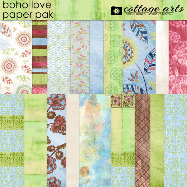 Boho Love Paper Pak Digital Art - Digital Scrapbooking Kits