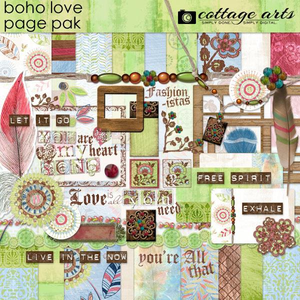 Boho Love Page Pak Digital Art - Digital Scrapbooking Kits
