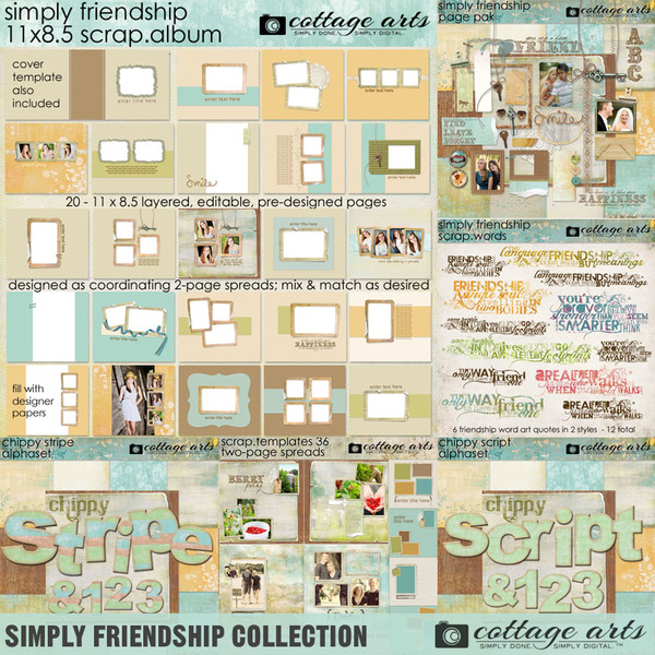 Simply Friendship Collection Digital Art - Digital Scrapbooking Kits