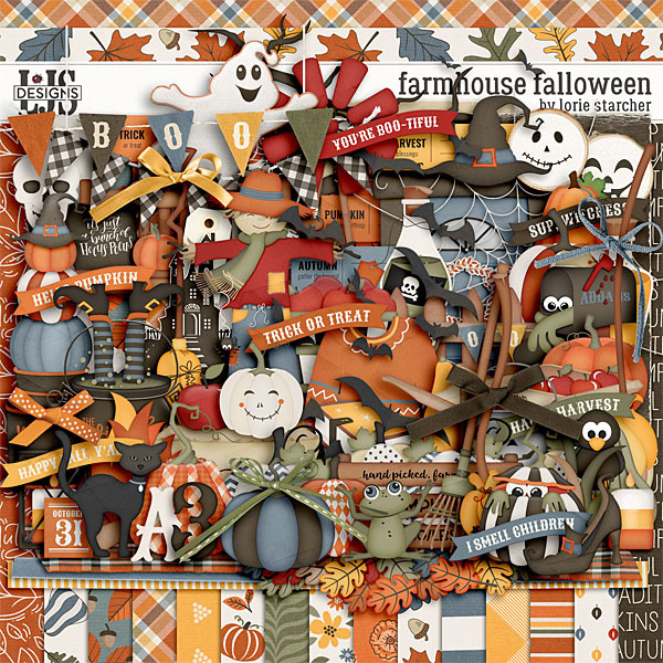 Farmhouse Falloween Digital Art - Digital Scrapbooking Kits