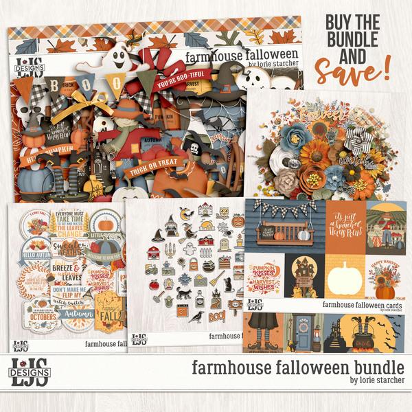 Farmhouse Falloween Bundle Digital Art - Digital Scrapbooking Kits