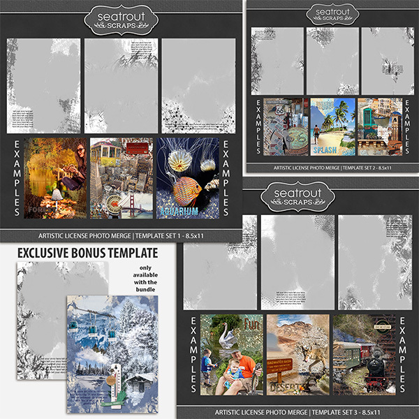 Artistic License Photo Merge Bonus Bundle 1 - 8.5x11 Digital Art - Digital Scrapbooking Kits